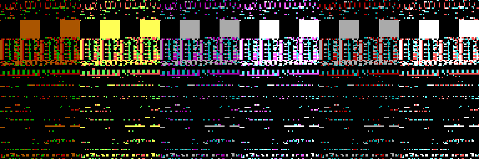 The same memory snapshot rendered using all three standard CGA graphics palettes, along with their high intensity variants